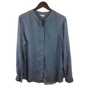 Levi's Blue Cotton Western Jeans Shirt Size L